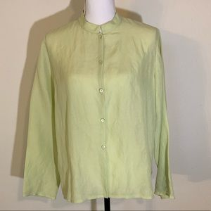 Eileen Fisher silk & linen button l/s blouse med